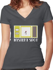 Supernatural Inspired Design - 'Mystery Spot' (Minimalist Geek Chic) Women's Fitted V-Neck T-Shirt