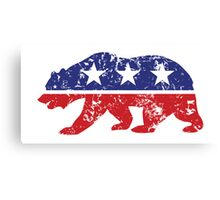 California Republican Bear Distressed Plain Canvas Print