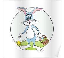 Easter Bunny Blue Rabbit Cartoon Poster