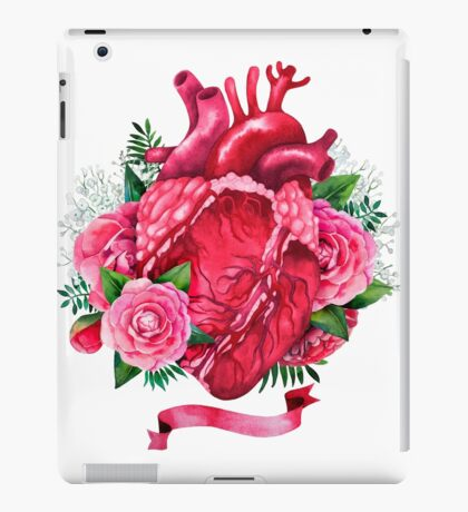 Watercolor heart with floral design iPad Case/Skin
