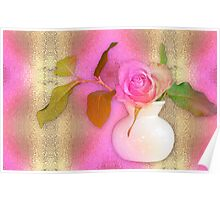 Textured Romantic Pink Rose  Poster