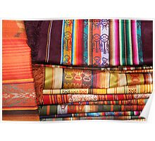 Stacked Linens at the Otavalo Outdoor Market Poster