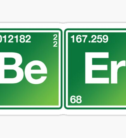 Be Er Periodic Table Irish Drinking Shirt Sticker