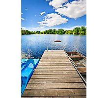 Dock on lake in summer cottage country Photographic Print