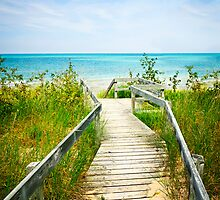 Wooden walkway over dunes at beach by Elena Elisseeva