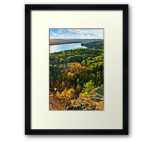 Fall forest and lake top view Framed Print