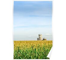 Corn field with silos Poster