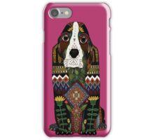 Basset Hound fuchsia pink iPhone Case/Skin