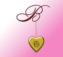 B Golden Heart Locket by Chere Lei