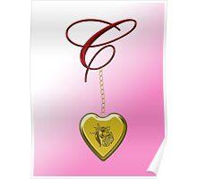 C Golden Heart Locket Poster