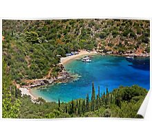 Heart shaped beach in Ithaca island Poster