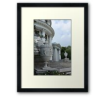 Vintage vase on the steps Framed Print