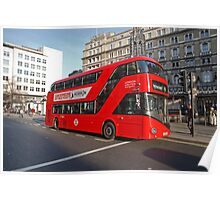 London Red Bus in the strand London Poster