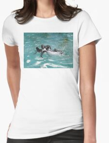 Penguins playing in the Water Womens Fitted T-Shirt