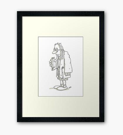 Man with milk carton and bathrobe Framed Print