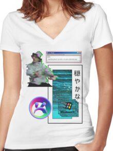 Yung Lean Vaporwave Aesthetics Women's Fitted V-Neck T-Shirt
