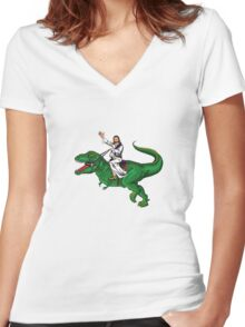 Jesus Riding a Dinosaur Women's Fitted V-Neck T-Shirt