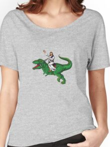 Jesus Riding a Dinosaur Women's Relaxed Fit T-Shirt