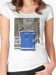 Police phone box Women's Fitted Scoop T-Shirt