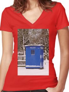 Police phone box Women's Fitted V-Neck T-Shirt