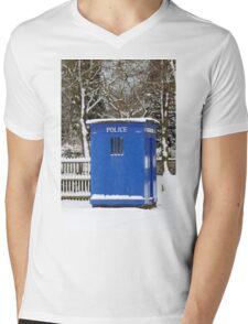 Police phone box Mens V-Neck T-Shirt