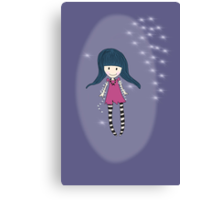 Girl with lights Canvas Print
