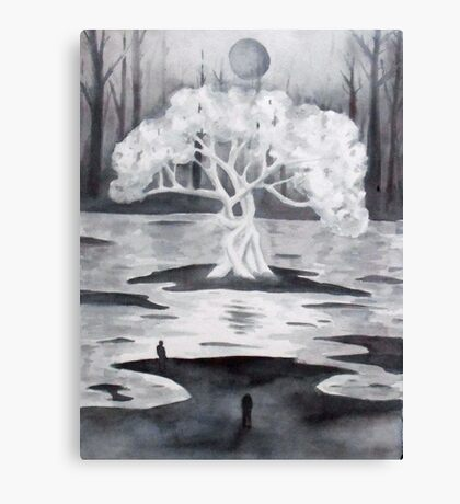The White tree, watercolor Canvas Print