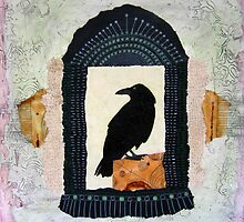 "Raven, ""Waiting for Dawn #2"", Mixed media collage by Annie Coe"