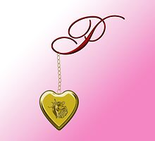 P Golden Heart Locket by Chere Lei