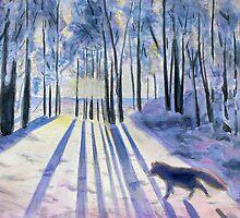 Snow Fox, watercolor by varzanic