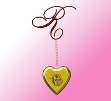 R Golden Heart Locket by Chere Lei