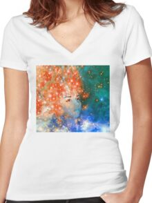 Red Galaxy Women's Fitted V-Neck T-Shirt