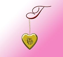 T Golden Heart Locket by Chere Lei