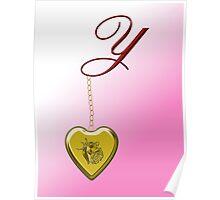 Y Golden Heart Locket Poster