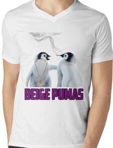 Penguin smoking blunt Beige Pumas Graphic Mens V-Neck T-Shirt