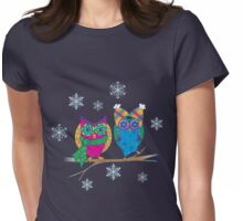 Winter Owls Womens Fitted T-Shirt