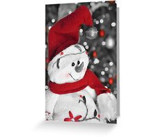Frosty Christmas Red B&W Greeting Card