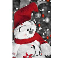 Frosty Christmas Red B&W Photographic Print