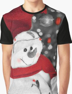 Frosty Christmas Red B&W Graphic T-Shirt