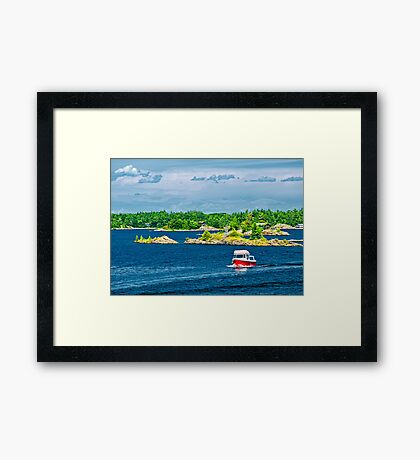 Boat on Georgian Bay Framed Print