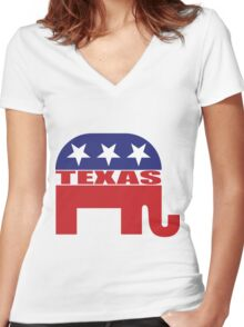 Texas Republican Elephant Women's Fitted V-Neck T-Shirt