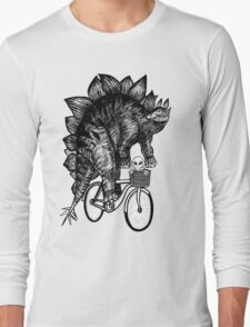 Stegosaurus Alien Bicycle Long Sleeve T-Shirt
