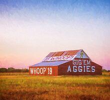 Aggie Barn Sunrise Painterly by joancarroll