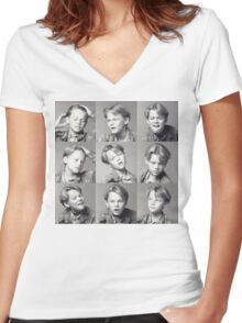 Young Leonardo DiCaprio Women's Fitted V-Neck T-Shirt
