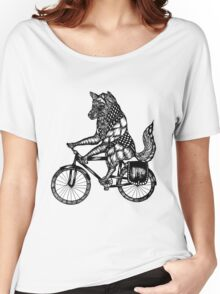 Wolf on a Bike Ride  Women's Relaxed Fit T-Shirt