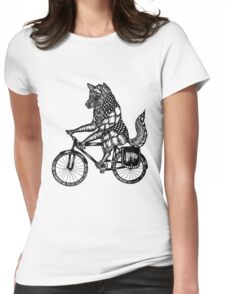 Wolf on a Bike Ride  Womens Fitted T-Shirt
