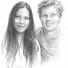 Young couple drawing by Mike Theuer