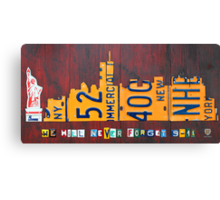 New York City Skyline License Plate Art 911 Twin Towers Statue of Liberty Canvas Print