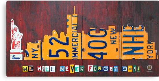 New York City Skyline License Plate Art 911 Twin Towers Statue of Liberty by designturnpike