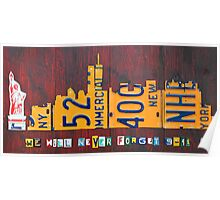New York City Skyline License Plate Art 911 Twin Towers Statue of Liberty Poster